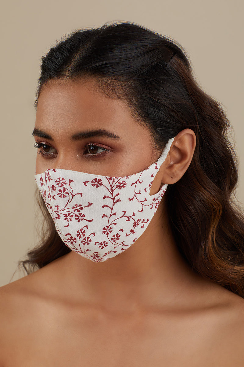 Printed Cotton Mask- Burnt Red