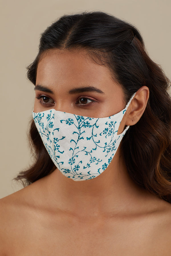 Printed Cotton Mask- Teal Blue