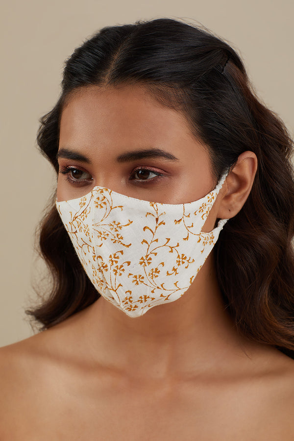Printed Cotton Mask- Mustard