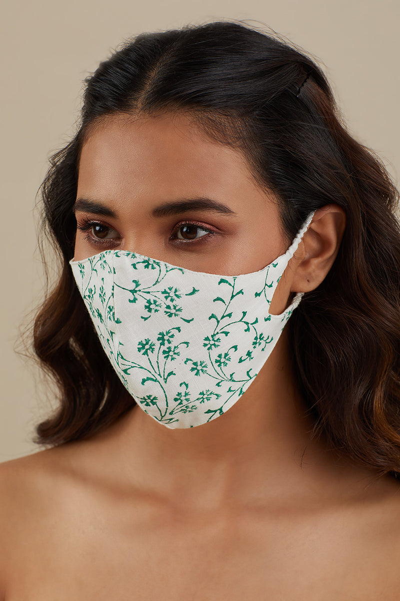 Printed Cotton Mask- Leafy Green
