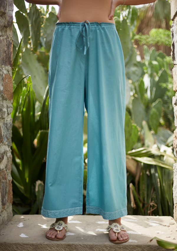 Aqua Blue Cotton Pants
