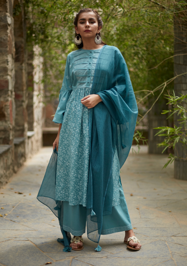 Aqua Blue Cotton Sriya Set (set of three)