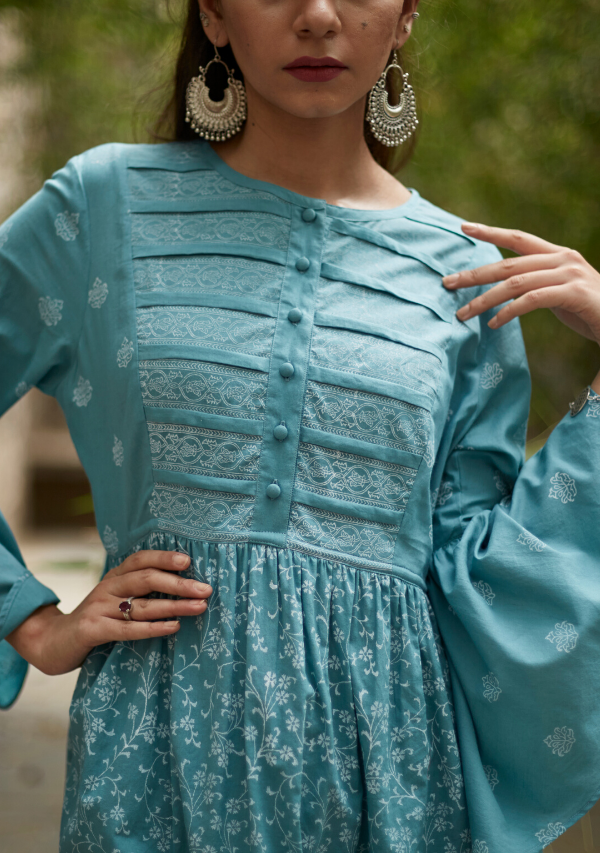 Aqua Blue Cotton Sriya Kurti
