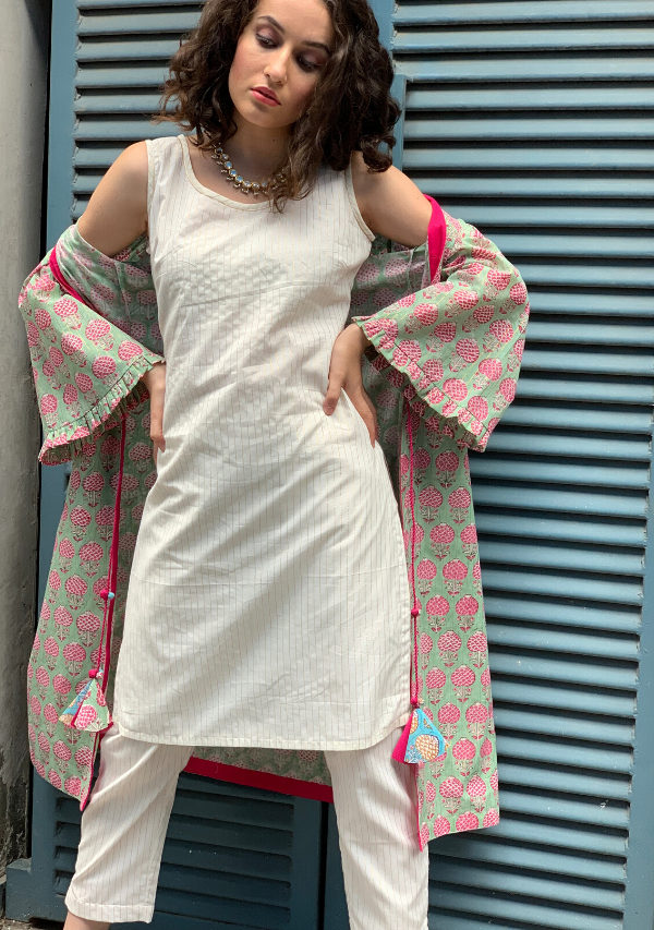 Pistachio handblocked cotton cover up set (with Ecru Stripe kurti-pants)