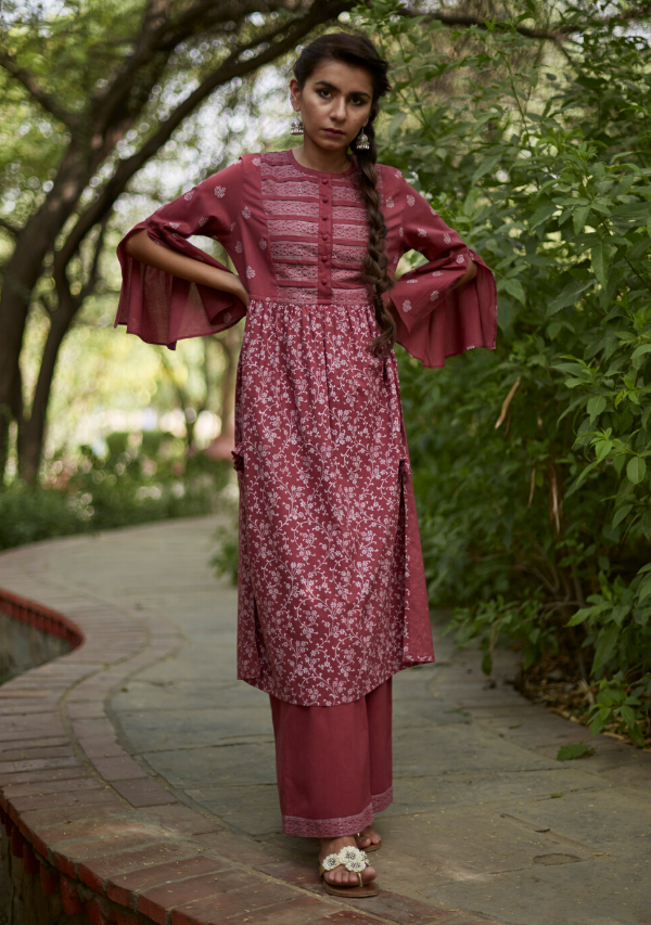 Brick Red Cotton Sriya Kurti