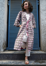 Ash Grey hand-blocked cotton Cover-up set (with Ecru Stripe kurti-pants)