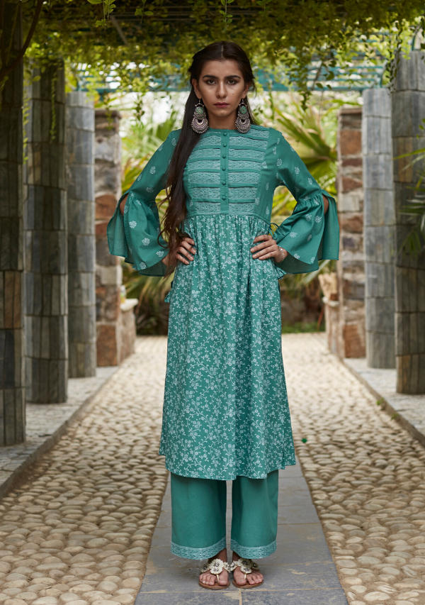 Fern Green Cotton Sriya Set (set of three)