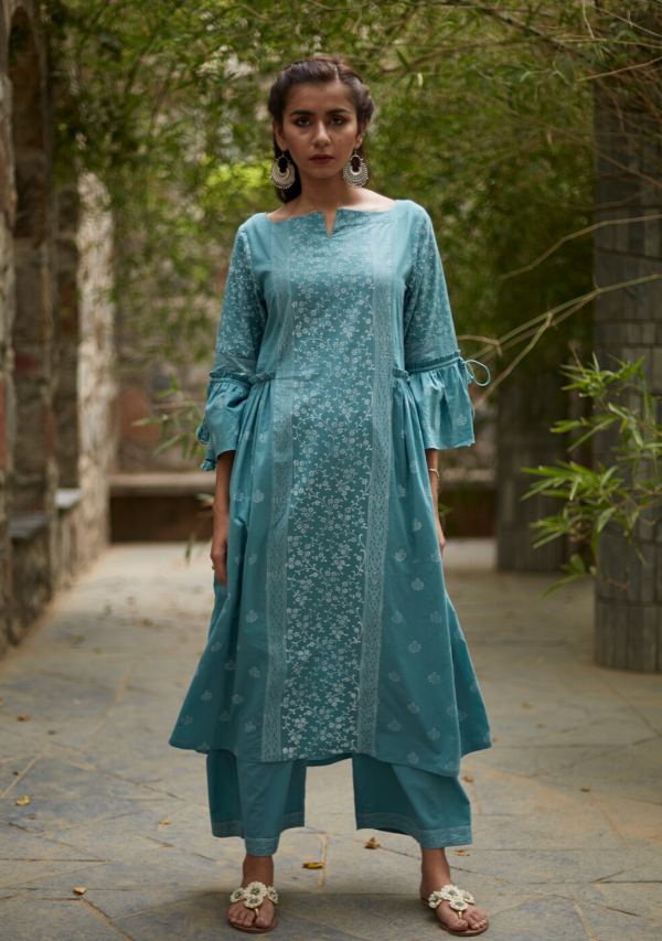 Aqua Blue Cotton Suchaya Kurti/Dress
