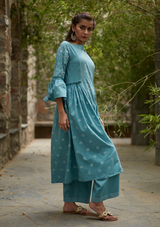 Aqua Blue Cotton Suchaya Set (set of three)