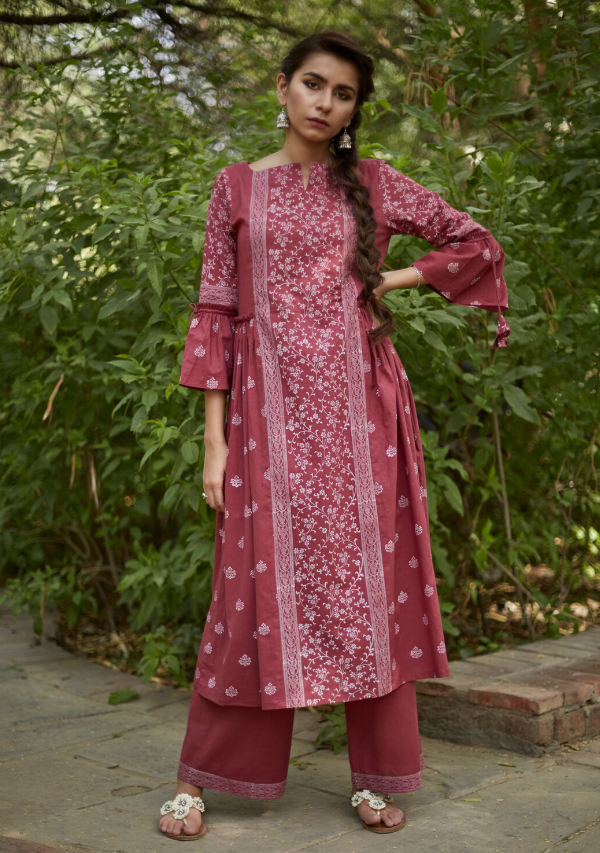 Brick Red Cotton Suchaya Set (set of three)