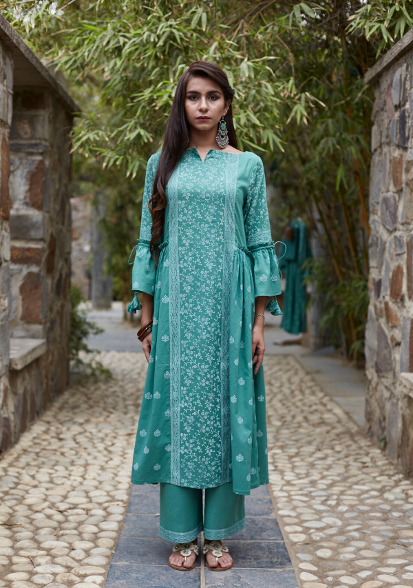 Fern Green Cotton Suchaya Kurti/Dress