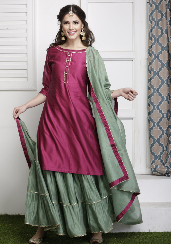 Jamun Kurti set with Dupatta (set of three)