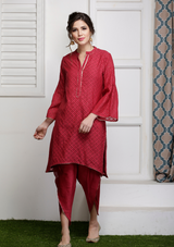Laal Rang kurti set with Dupatta (set of three)