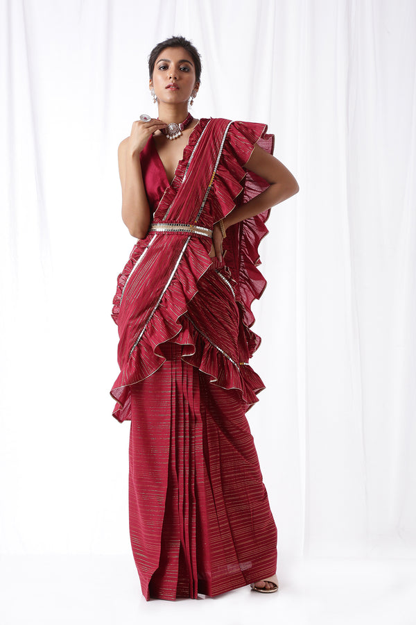 Zip Up Saree w/ Belt- Deep Maroon (Set of Three)