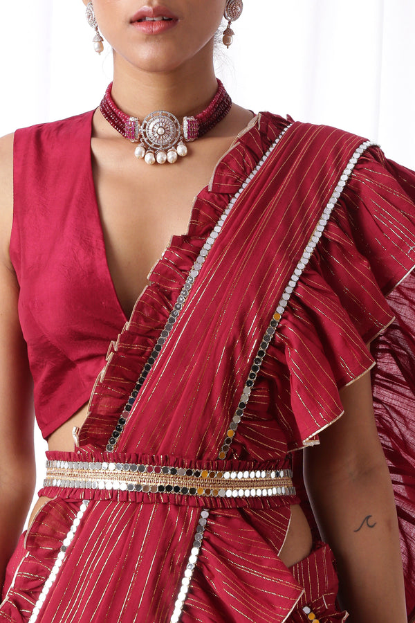 Haseena Mirror Belt-Deep Maroon