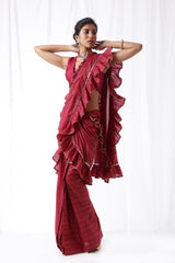 Zip Up Saree - Deep Maroon