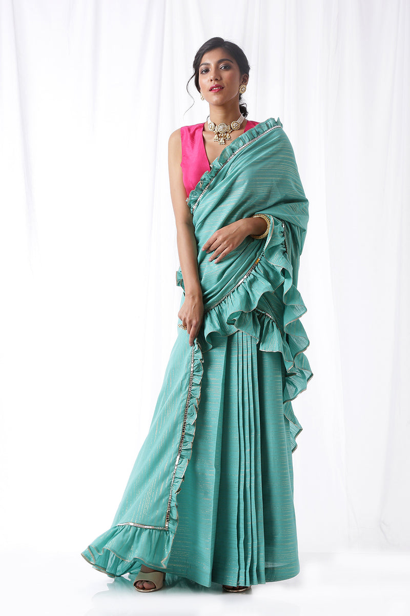 Zip Up Saree - Aquamarine