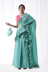 Zip Up Saree with Belt & Potli- Aquamarine (Set of four)