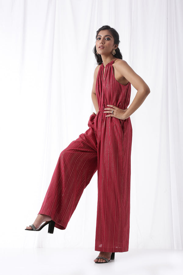 Disco Jumpsuit w/ Pockets - Maroon