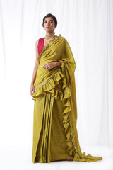 Zip Up Saree - Olive