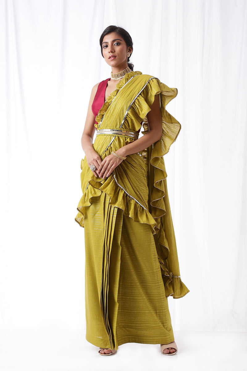 Zip Up Saree w/ Belt - Olive (Set of Three)