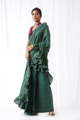 Zip Up Saree - Bottle Green