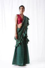 Zip Up Saree with Belt - Bottle Green (Set of three)