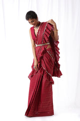 Zip Up Saree w/ Belt & Potli- Deep Maroon (Set of Four)