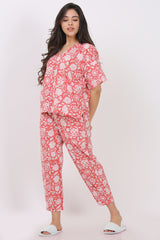 Boxy Tee Narrow Hem Pant Set (Set of 2) - Floral Coral