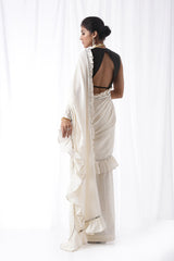 Zip Up Saree - Off white