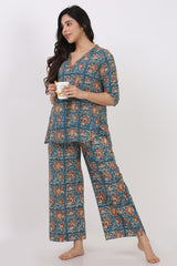 Frill Tee w/ Pant (Set of 2) - Floral Blue