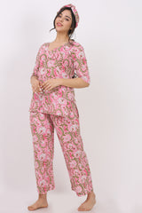 Pink Kurti-Pyjama w/ Hairband (Set of 3)