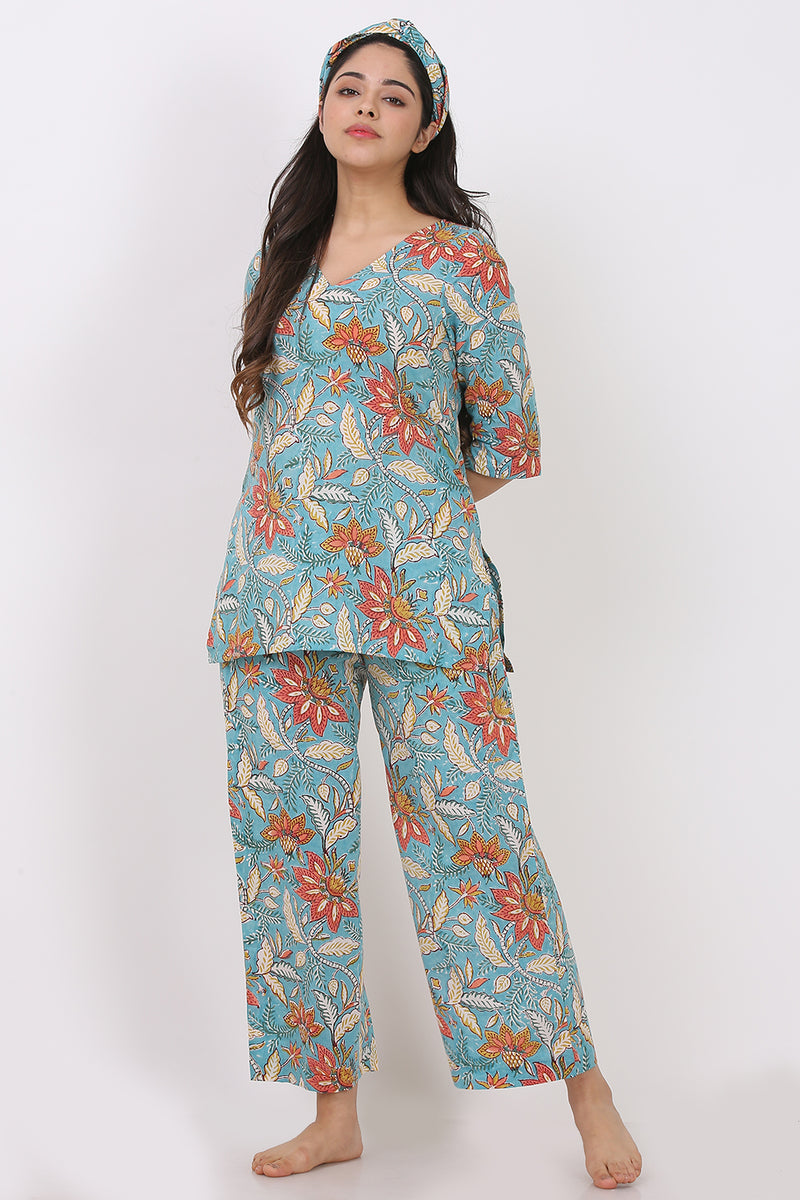 Blue Floral Kurti-Pyjama w/ Hairband (Set of 3)