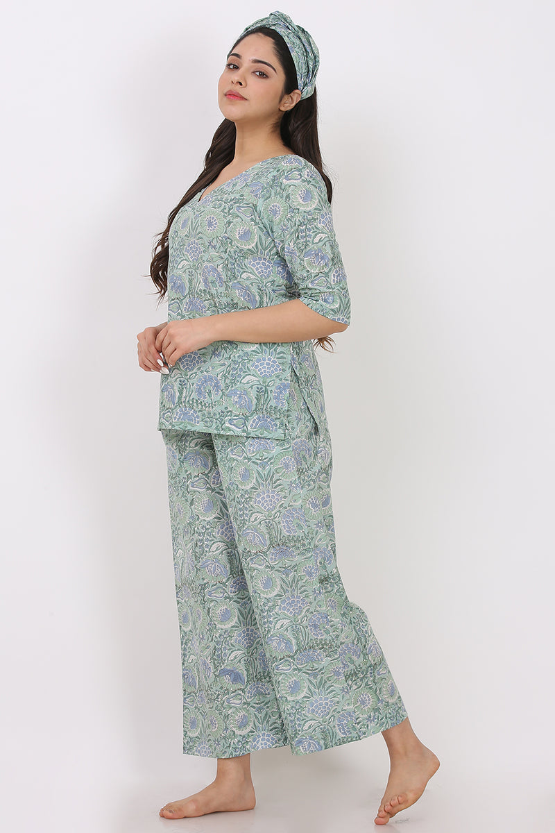 Blue-Green Floral Kurti-Pyjama w/ Hairband (Set of 3)