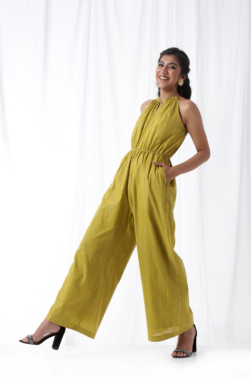 Disco Jumpsuit w/ Pockets - Olive