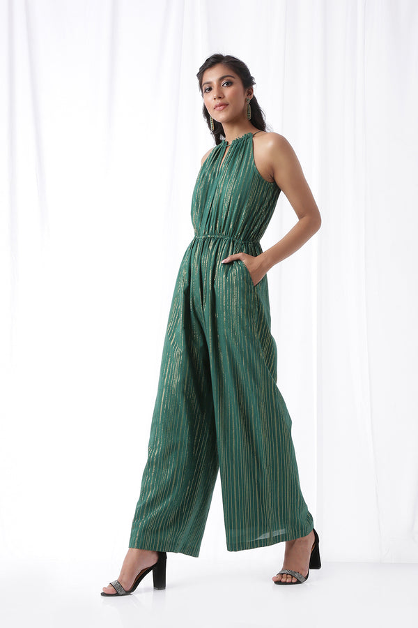 Disco Jumpsuit w/ Pockets - Bottle Green