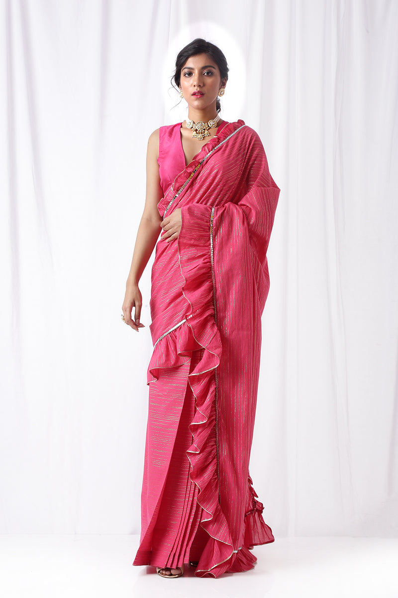 Zip Up Saree with Belt -Fuschia (Set of three)