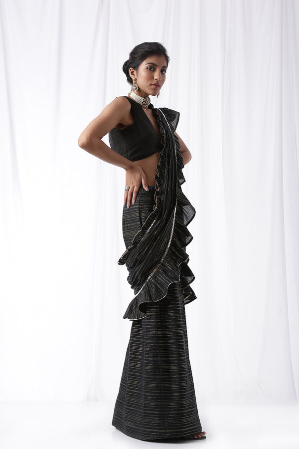 Zip Up Saree w/ Belt- Coal Black (Set of Three)