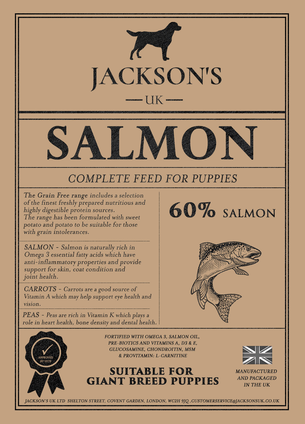 60% SALMON <BR>Giant Breed / Puppy / Grain Free Dog Food