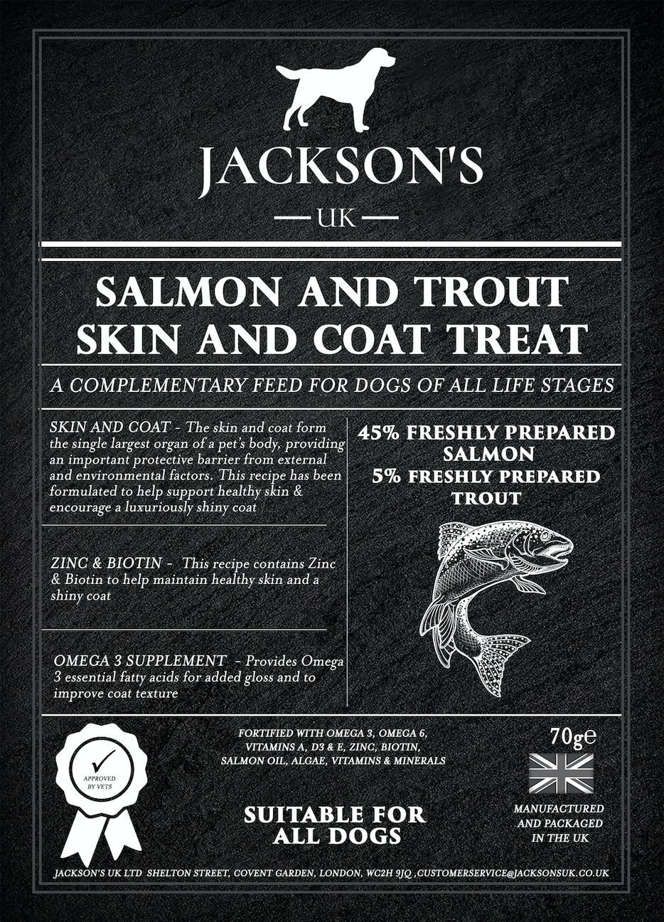 SKIN & COAT TREAT FOR DOGS <br> 60% Salmon & Trout