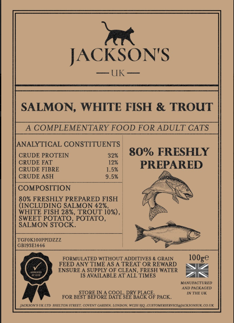 80% SALMON, WHITE FISH & TROUT <br> Adult Cat