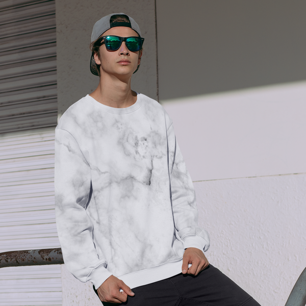 White Marble All-Over Print Sweatshirt