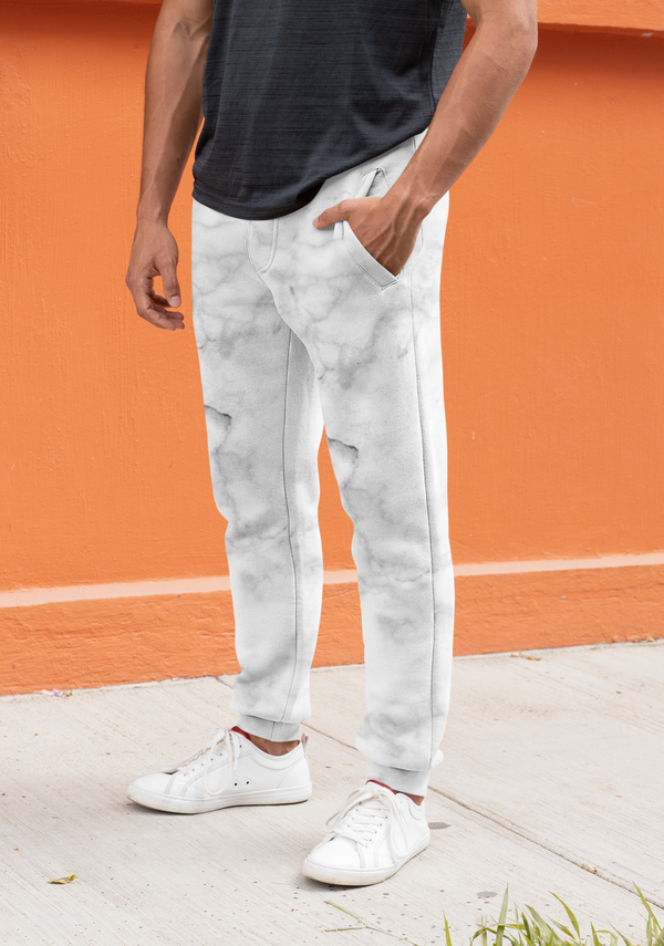 White Marble Joggers