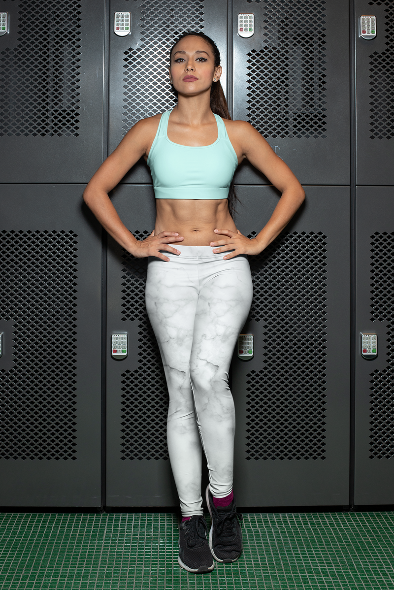 White Marble Yoga Pants