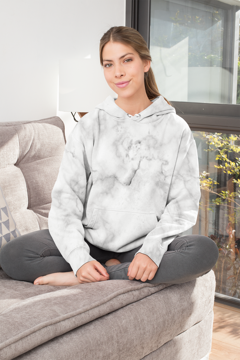 White Marble All-Over Print Hoodie