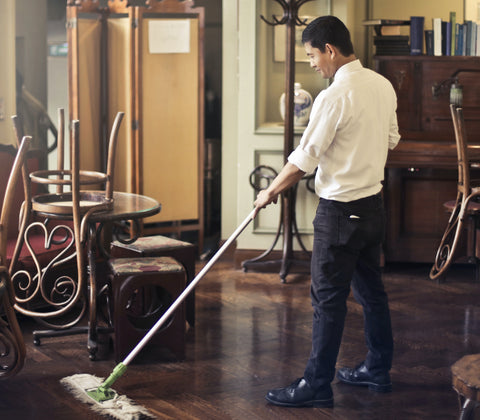 Floor cleaning - dust, grime & stains
