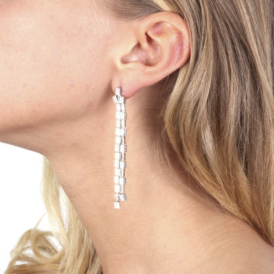Bruges Linear Drop Earrings in Sterling Silver, 3 Strands with Cubic Zirconia - www.LaBellaDentro.com