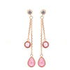 Rose Gold Over 925 Silver Chain Teardrop Earrings with Pink Zirconia - www.LaBellaDentro.com