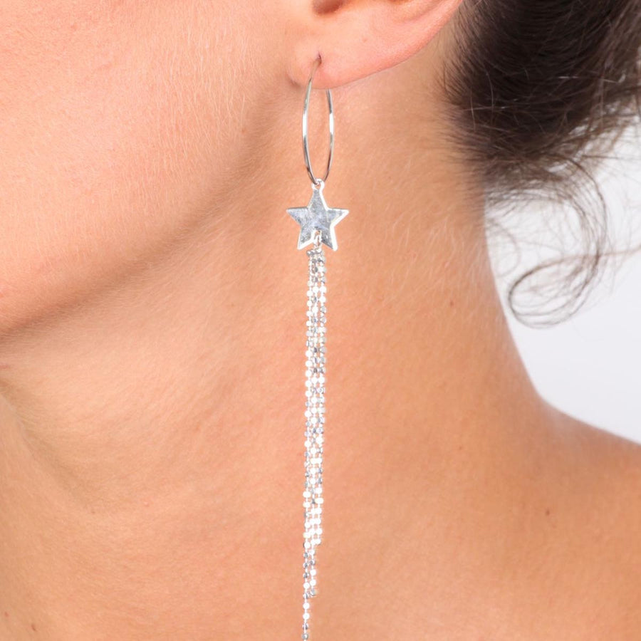 Long Hoop Earrings in Sterling Silver with Hanging Star and Beaded Chain - www.LaBellaDentro.com
