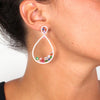Rose Gold Over 925 Sterling Silver Big Teardrop Zirconia Cluster Earrings - www.LaBellaDentro.com